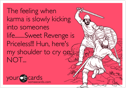 The feeling when karma is slowly kicking into someones life........Sweet Revenge is Priceless!!! Hun, here's my shoulder to cry on, NOT...