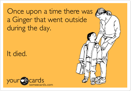 Once upon a time there was a Ginger that went outside during the day.   It died.
