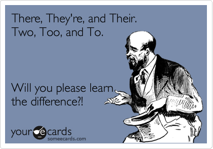 There, They're, and Their.  Two, Too, and To.     Will you please learn the difference?!
