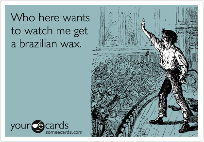 Who here wants  to watch me get  a brazilian wax.