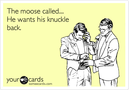 The moose called.... He wants his knuckle  back.