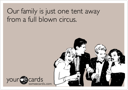 Our family is just one tent away from a full blown circus.