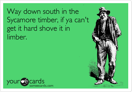 Way down south in the Sycamore timber, if ya can't get it hard shove it in limber.