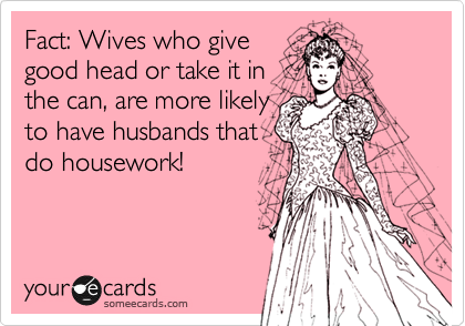 Fact: Wives who give good head or take it in the can, are more likely to have husbands that do housework!