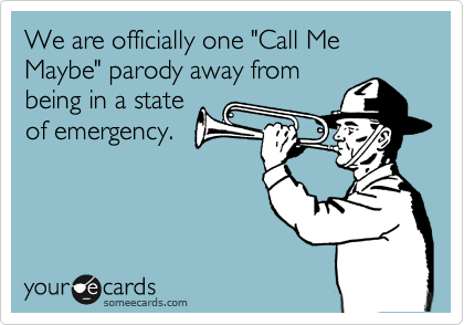 "We are officially one ""Call Me Maybe"" parody away from being in a state of emergency."