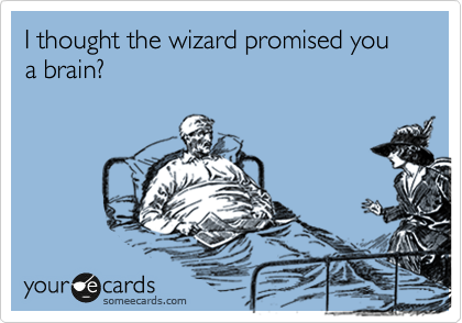 I thought the wizard promised you a brain?