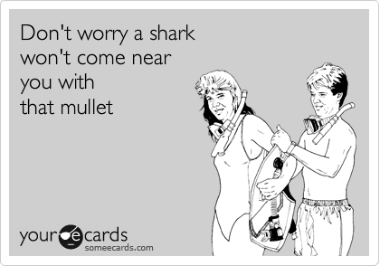 Don't worry a shark  won't come near you with  that mullet