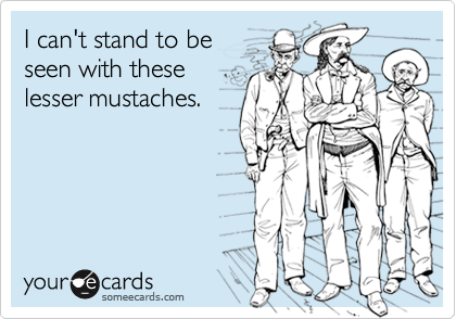 I can't stand to be  seen with these  lesser mustaches.