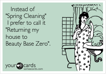 "Instead of  ""Spring Cleaning""  I prefer to call it ""Returning my house to Beauty Base Zero""."