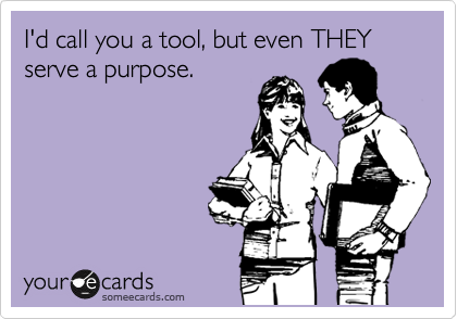 I'd call you a tool, but even THEY serve a purpose.