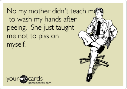 No my mother didn't teach me  to wash my hands after peeing.  She just taught me not to piss on myself.