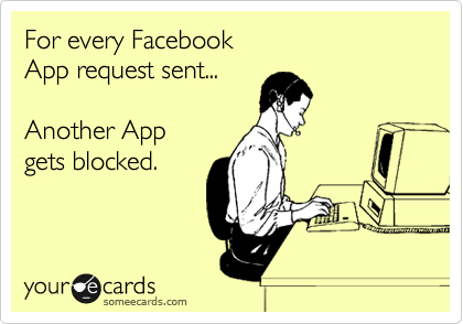 For every Facebook  App request sent...  Another App gets blocked.