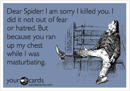 Dear Spider: I am sorry I killed you. I did it not out of fear or hatred. But because you ran up my chest while I was masturbating.