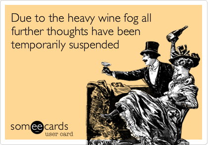 Due to the heavy wine fog all further thoughts have been temporarily suspended