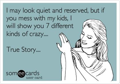 I may look quiet and reserved, but if you mess with my kids, I will show you 7 different kinds of crazy....  True Story....