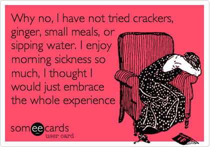 Why no, I have not tried crackers, ginger, small meals, or sipping water. I enjoy morning sickness so much, I thought I would just embrace the whole experience