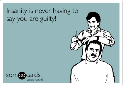 Insanity is never having to  say you are guilty!