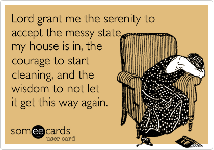 Lord grant me the serenity to accept the messy state  my house is in, the  courage to start cleaning, and the  wisdom to not let it get this way again.