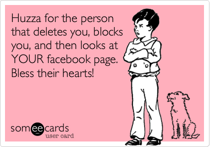 Huzza for the person that deletes you, blocks you, and then looks at YOUR facebook page. Bless their hearts!
