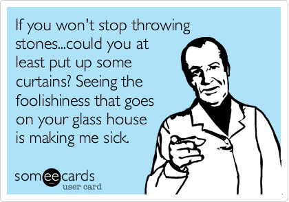 If you won't stop throwing stones...could you at least put up some curtains? Seeing the foolishiness that goes on your glass house is making me sick.