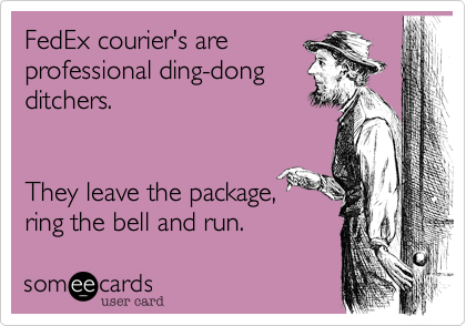 FedEx courier's are professional ding-dong ditchers.     They leave the package,  ring the bell and run.