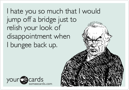 I hate you so much that I would jump off a bridge just to  relish your look of  disappointment when I bungee back up.