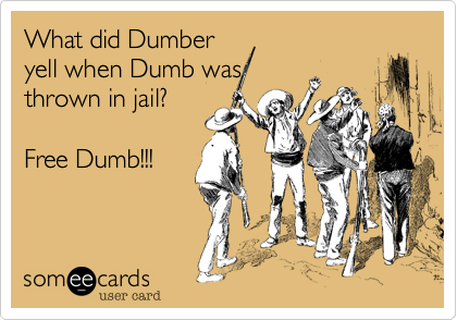 What did Dumber yell when Dumb was thrown in jail?   Free Dumb!!!