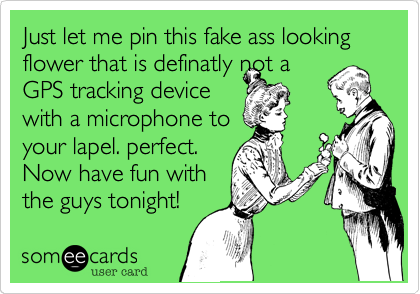 Just let me pin this fake ass looking flower that is definatly not a GPS tracking device with a microphone to your lapel. perfect. Now have fun with the guys tonight!