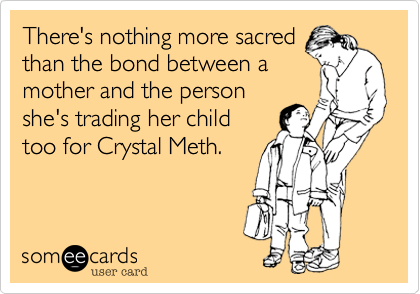 There's nothing more sacred than the bond between a mother and the person she's trading her child too for Crystal Meth.