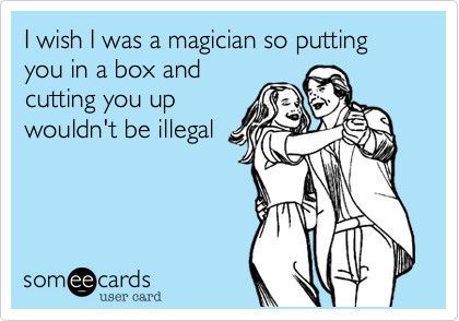 I wish I was a magician so putting you in a box and cutting you up  wouldn't be illegal
