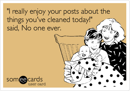 """I really enjoy your posts about the things you've cleaned today!"" said, No one ever."