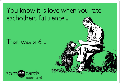 You know it is love when you rate eachothers flatulence...   That was a 6....