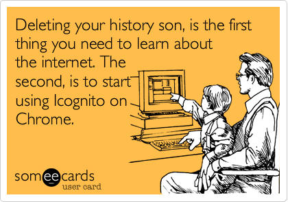 Deleting your history son, is the first thing you need to learn about the internet. The second, is to start using Icognito on Chrome.