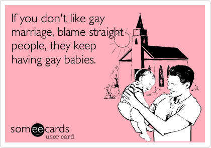 If you don't like gay marriage, blame straight people, they keep having gay babies.