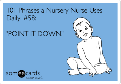 "101 Phrases a Nursery Nurse Uses Daily, %2358:  ""POINT IT DOWN!"""