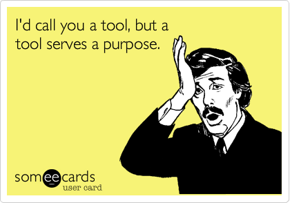 I'd call you a tool, but a tool serves a purpose.