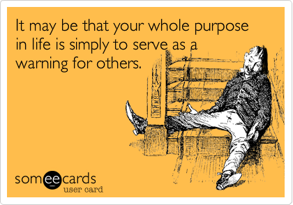 It may be that your whole purpose in life is simply to serve as a warning for others.