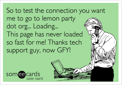 So to test the connection you want me to go to lemon party dot org... Loading... This page has never loaded so fast for me! Thanks tech support guy, now GFY!