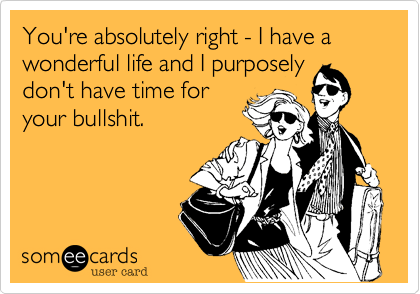 You're absolutely right - I have a wonderful life and I purposely don't have time for your bullshit.