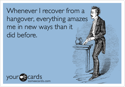 Whenever I recover from a hangover, everything amazes me in new ways than it  did before.
