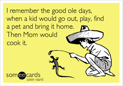 I remember the good ole days, when a kid would go out, play, find a pet and bring it home. Then Mom would cook it.