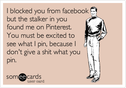 I blocked you from facebook but the stalker in you found me on Pinterest. You must be excited to see what I pin, because I don't give a shit what you pin.