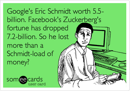Google's Eric Schmidt worth 5.5-billion. Facebook's Zuckerberg's fortune has dropped 7.2-billion. So he lost more than a  Schmidt-load of money?