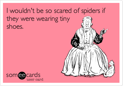 I wouldn't be so scared of spiders if they were wearing tiny shoes.