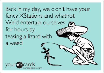 Back in my day, we didn't have your fancy XStations and whatnot.  We'd entertain ourselves for hours by teasing a lizard with a weed.