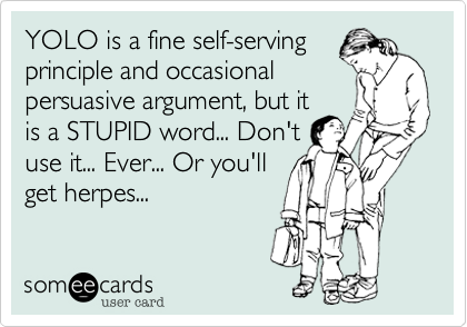 YOLO is a fine self-serving principle and occasional persuasive argument, but it is a STUPID word... Don't use it... Ever... Or you'll get herpes...