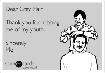 Dear Grey Hair Thank You For Robbing Me Of My Youth Sincerely Me