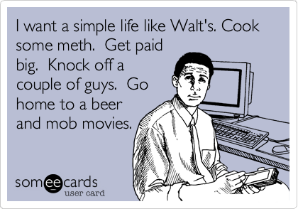 I want a simple life like Walt's. Cook some meth.  Get paid big.  Knock off a couple of guys.  Go home to a beer and mob movies.