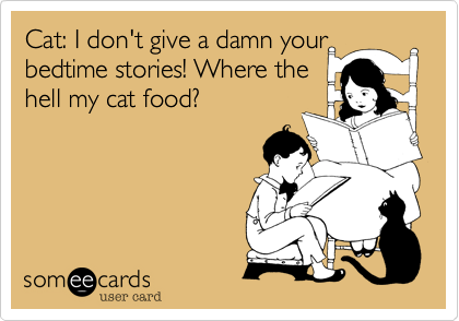 Cat: I don't give a damn your bedtime stories! Where the  hell my cat food?