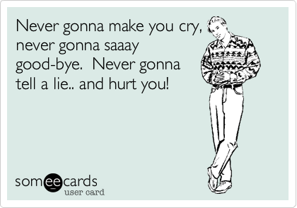 Never gonna make you cry, never gonna saaay good-bye.  Never gonna tell a lie.. and hurt you!